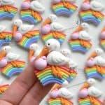 Bomboniere cicogna animali kawaii bambini battesimo - nascita - babyshower, arcobaleno, personalizzate in fimo