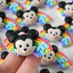 Bomboniere topolino arcobaleno bambini kawaii nascita - battesimo - compleanno - comunione, personalizzate in fimo
