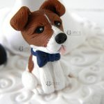 cake topper matrimonio, cane, personalizzato in fimo