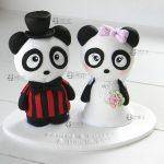 cake topper panda animali matrimonio, personalizzato in fimo