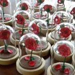 Bomboniere matrimonio, rosa, teca, personalizzate in fimo