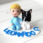 Cake topper bambino bimbo bambini, nascita - battesimo - compleanno, cane, personalizzato in fimo