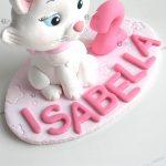 Cake topper bambina bimba, nascita - battesimo - compleanno, gatto minù, personalizzato in fimo