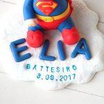 Cake topper bambino bimbo bambini, nascita - battesimo - compleanno, superman supereroe, personalizzato in fimo