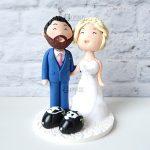 cake topper matrimonio casco - sposi motociclisti - personalizzato in fimo