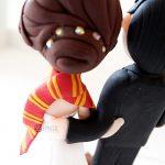 cake topper matrimonio nerd harry potter - sposi grifondoro serpeverde - personalizzato in fimo