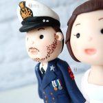 cake topper matrimonio - sposo uniforme marina militare - personalizzato in fimo