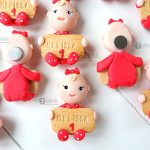 Bomboniere kawaii bambina babyshower - nascita - battesimo - compleanno, caricatura bimbo, personalizzate in fimo