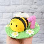 cake topper ape e fiore, primo compleanno, battesimo, bambino bambina, personalizzato in fimo