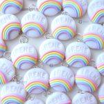 Bomboniere personalizzate in fimo con nome e arcobaleno kawaii per bambini e sposi rainbow - battesimo, compleanno, comunione, cresima, matrimonio