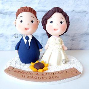 cake topper elegante personalizzato in fimo fatto a mano artigianale - idee matrimonio, nozze - sposi sposo girasole fiori - statuine torta