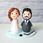 cake topper elegante personalizzato in fimo fatto a mano artigianale - idee matrimonio, nozze - sposi sposo hockey sport- statuine torta
