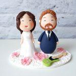 cake topper elegante personalizzato in fimo fatto a mano artigianale - idee matrimonio, nozze - sposi sposo chitarra musica sakura fiori ciliegio - statuine torta
