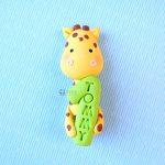 Bomboniera fatta a mano artigianale, giraffa animali kawaii, bambini primo compleanno - nome, numero uno, personalizzate in fimo
