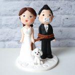 cake topper elegante personalizzato in fimo fatto a mano artigianale - idee matrimonio, nozze - sposi sposo - cagnolino - statuine torta
