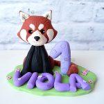 cake topper originale personalizzato, primo compleanno, battesimo, bambino bambina, panda rosso, personalizzato in fimo