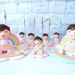 Bomboniere portafoto personalizzate in fimo con arcobaleno kawaii per bambini - battesimo, compleanno - regalo madrina padrino