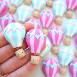 Bomboniere fatte a mano artigianali, mongolfiere kawaii, personalizzate in fimo, nascita bambino bambina - nascita - battesimo - comunione - compleanno - personalizzate in fimo