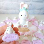 Bomboniere fatte a mano artigianali, bambina coniglio coniglietta baby kawaii personalizzate in fimo, nascita bambino bambina - babyshower - battesimo - personalizzate in fimo