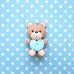 Bomboniere magnete fatte a mano artigianali, orso orsetto kawaii, personalizzate con inziale in fimo, nascita bambino bambina - battesimo - comunione - compleanno - personalizzate in fimo