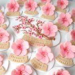 Bomboniere portafoto segnaposto fatte a mano artigianali, fiore ciliegio sakura hanami giapponese, nascita bambina bambino- battesimo - comunione - cresima - compleanno - matrimonio personalizzate con nome in fimo