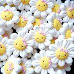 Bomboniere magneti fatte a mano artigianali, fiore margherita sorriso kawaii , personalizzate in fimo, nascita bambina bambino - battesimo - comunione - cresima - primo compleanno